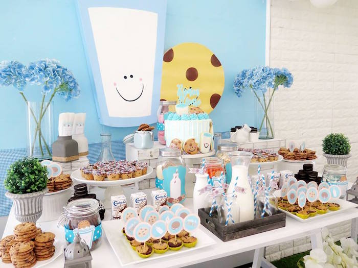Milk and Cookies Themed Dessert Table from a Milk & Cookies Baptism Party on Kara's Party Ideas | KarasPartyIdeas.com (11)