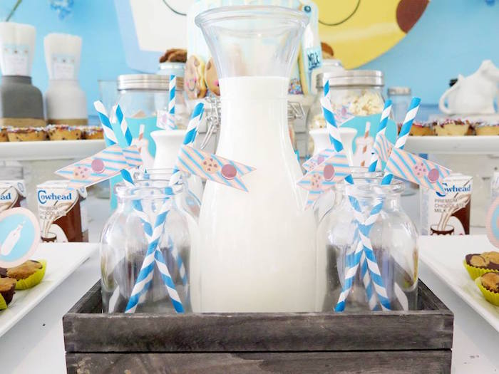 Milk Jug & Bottles from a Milk & Cookies Baptism Party on Kara's Party Ideas | KarasPartyIdeas.com (9)