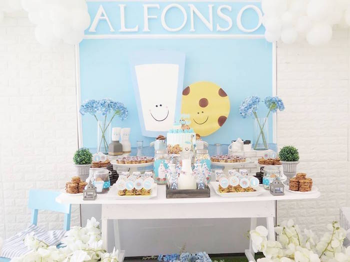Milk & Cookies Themed Dessert Table from a Milk & Cookies Baptism Party on Kara's Party Ideas | KarasPartyIdeas.com (8)