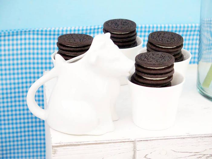 Oreo Cookies in Mugs from a Milk & Cookies Baptism Party on Kara's Party Ideas | KarasPartyIdeas.com (24)