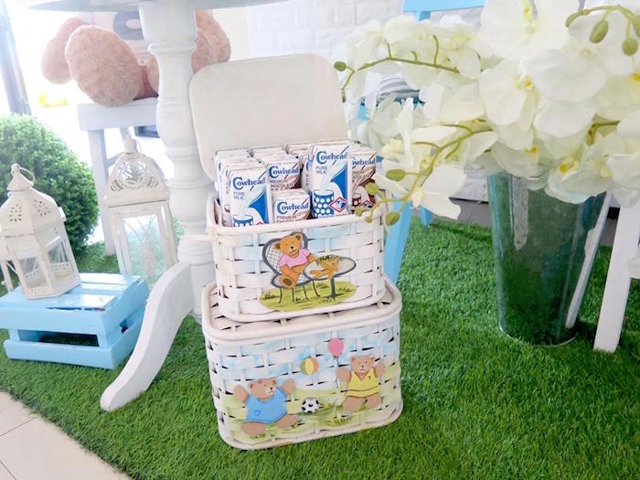 Milk Cartons in Picnic Baskets from a Milk & Cookies Baptism Party on Kara's Party Ideas | KarasPartyIdeas.com (23)