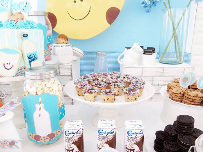 Cookies and Milk Themed Dessert Table from a Milk & Cookies Baptism Party on Kara's Party Ideas | KarasPartyIdeas.com (22)