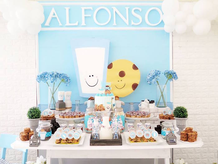 Cookies and Milk Themed Dessert Table from a Milk & Cookies Baptism Party on Kara's Party Ideas | KarasPartyIdeas.com (21)