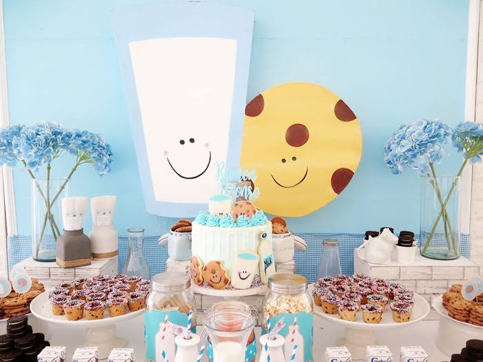 Cookies and Milk Themed Cake + Dessert Table from a Milk & Cookies Baptism Party on Kara's Party Ideas | KarasPartyIdeas.com (19)