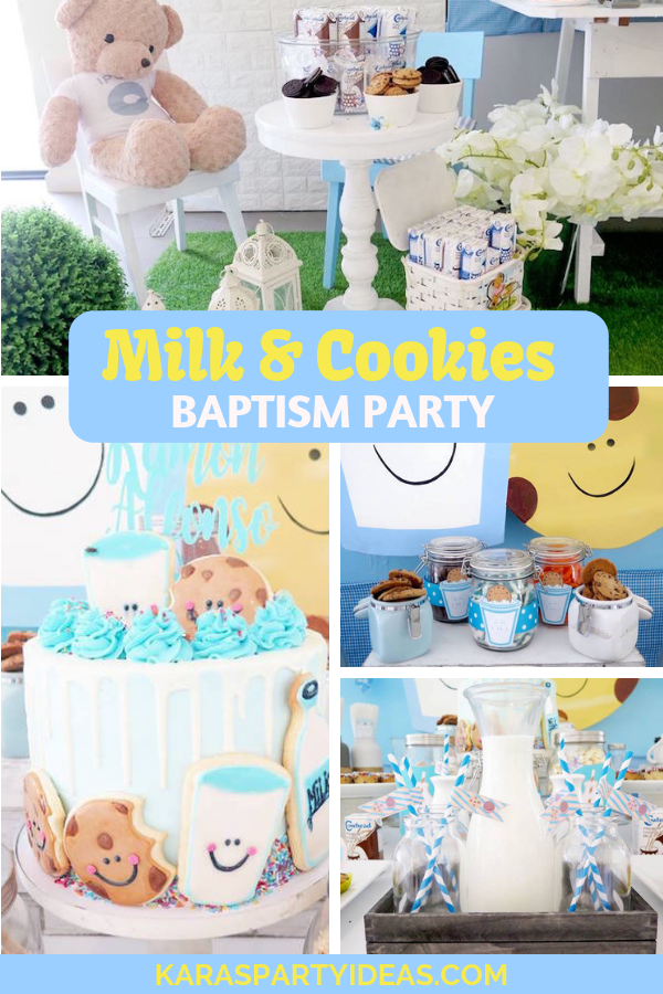 Milk & Cookies Baptism Party via Kara's Party Ideas - KarasPartyIdeas