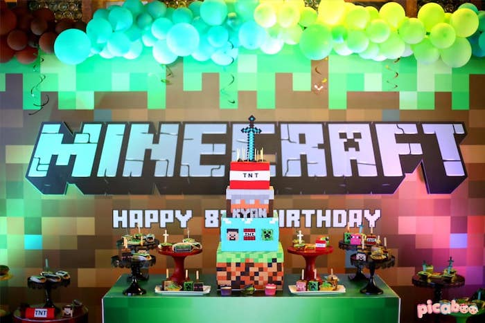 Minecraft Themed Dessert Table from a Minecraft Birthday Party on Kara's Party Ideas | KarasPartyIdeas.com (22)