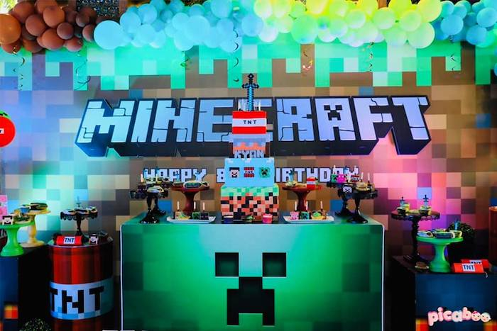 Minecraft Themed Dessert Table from a Minecraft Birthday Party on Kara's Party Ideas | KarasPartyIdeas.com (21)