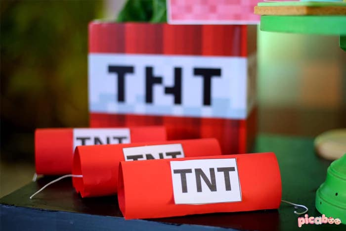 TNT Favors + Sweets from a Minecraft Birthday Party on Kara's Party Ideas | KarasPartyIdeas.com (19)