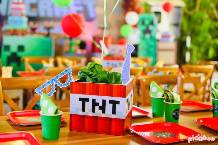 TNT Guest Table from a Minecraft Birthday Party on Kara's Party Ideas | KarasPartyIdeas.com (18)