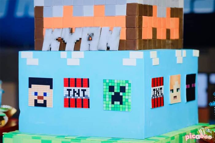 Minecraft Birthday Cake Detail from a Minecraft Birthday Party on Kara's Party Ideas | KarasPartyIdeas.com (15)
