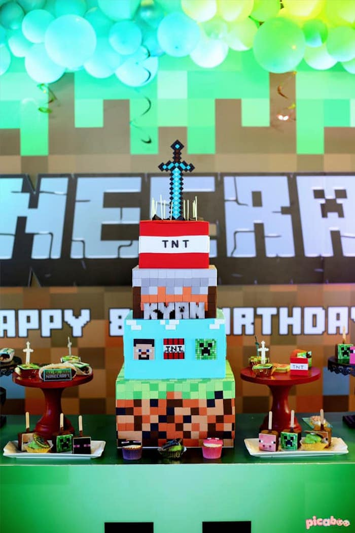 Minecraft Birthday Cake from a Minecraft Birthday Party on Kara's Party Ideas | KarasPartyIdeas.com (14)