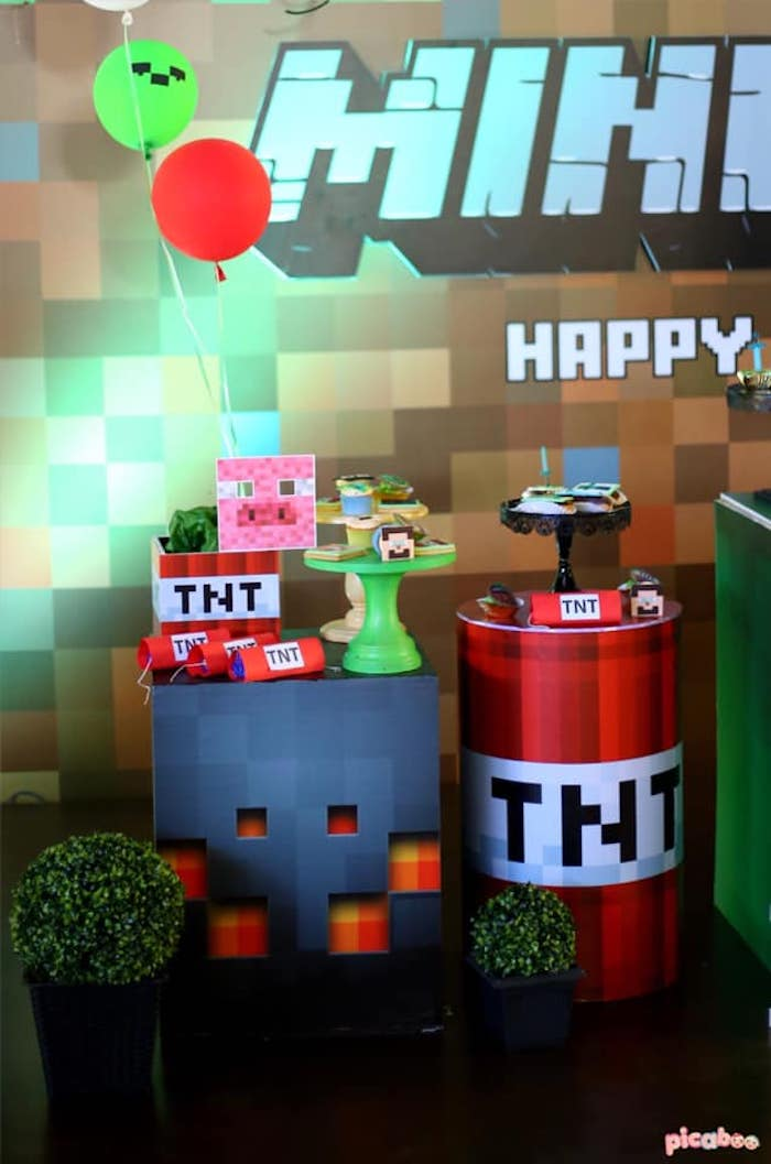 TNT Sweet Table from a Minecraft Birthday Party on Kara's Party Ideas | KarasPartyIdeas.com (13)