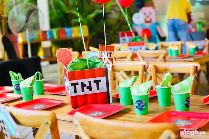 TNT Party Table from a Minecraft Birthday Party on Kara's Party Ideas | KarasPartyIdeas.com (31)