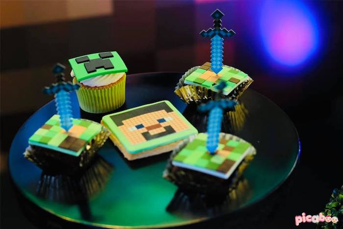 Minecraft-inspired Cookies + Cupcakes from a Minecraft Birthday Party on Kara's Party Ideas | KarasPartyIdeas.com (11)