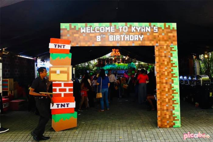 Minecraft Party Entrance Arch from a Minecraft Birthday Party on Kara's Party Ideas | KarasPartyIdeas.com (10)