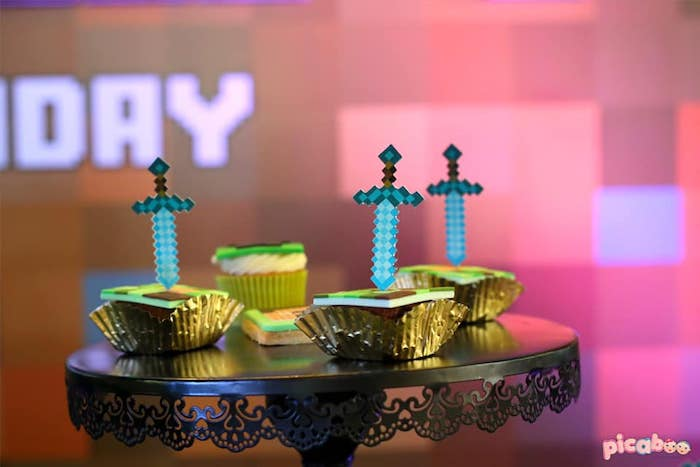 Minecraft Sword Cupcakes from a Minecraft Birthday Party on Kara's Party Ideas | KarasPartyIdeas.com (29)