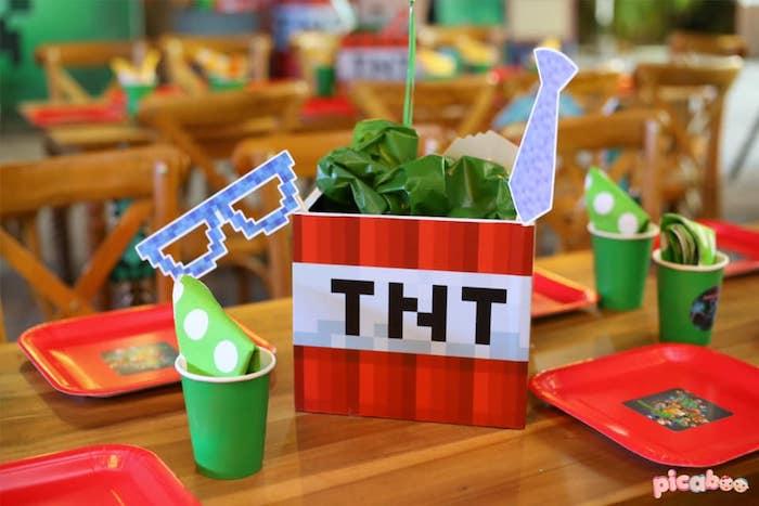 TNT Table Centerpiece from a Minecraft Birthday Party on Kara's Party Ideas | KarasPartyIdeas.com (28)