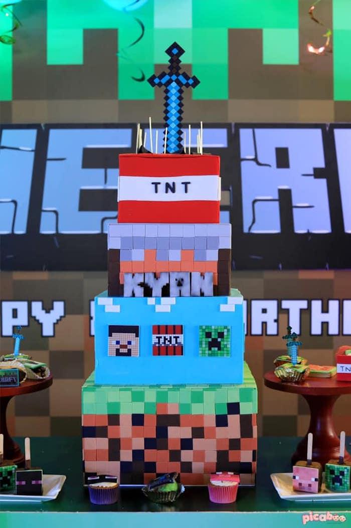 Minecraft Themed Birthday Cake from a Minecraft Birthday Party on Kara's Party Ideas | KarasPartyIdeas.com (26)