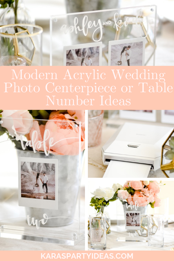 Modern Acrylic Wedding Photo Centerpiece or Table Number Ideas via Kara's Party Ideas - KarasPartyIdeas.com