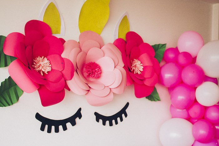 Paper Flower Unicorn Eyes from a Modern Floral Unicorn Birthday Party on Kara's Party Ideas | KarasPartyIdeas.com (7)