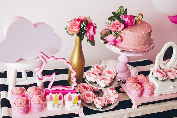 Pink Unicorn-inspired Sweet Table from a Modern Floral Unicorn Birthday Party on Kara's Party Ideas | KarasPartyIdeas.com (16)