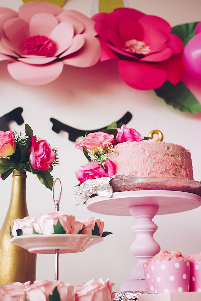 Pink Floral Cake from a Modern Floral Unicorn Birthday Party on Kara's Party Ideas | KarasPartyIdeas.com (11)