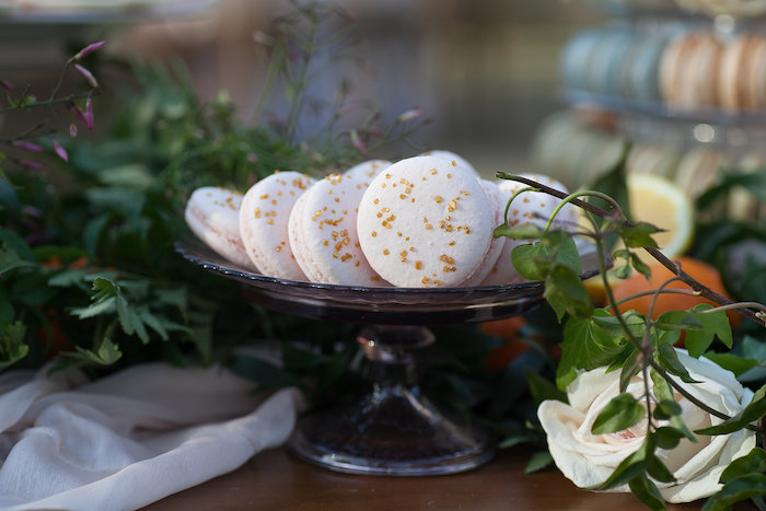 Golds-sprinkled White Macarons from a Mother's Day Garden Brunch on Kara's Party Ideas | KarasPartyIdeas.com (34)