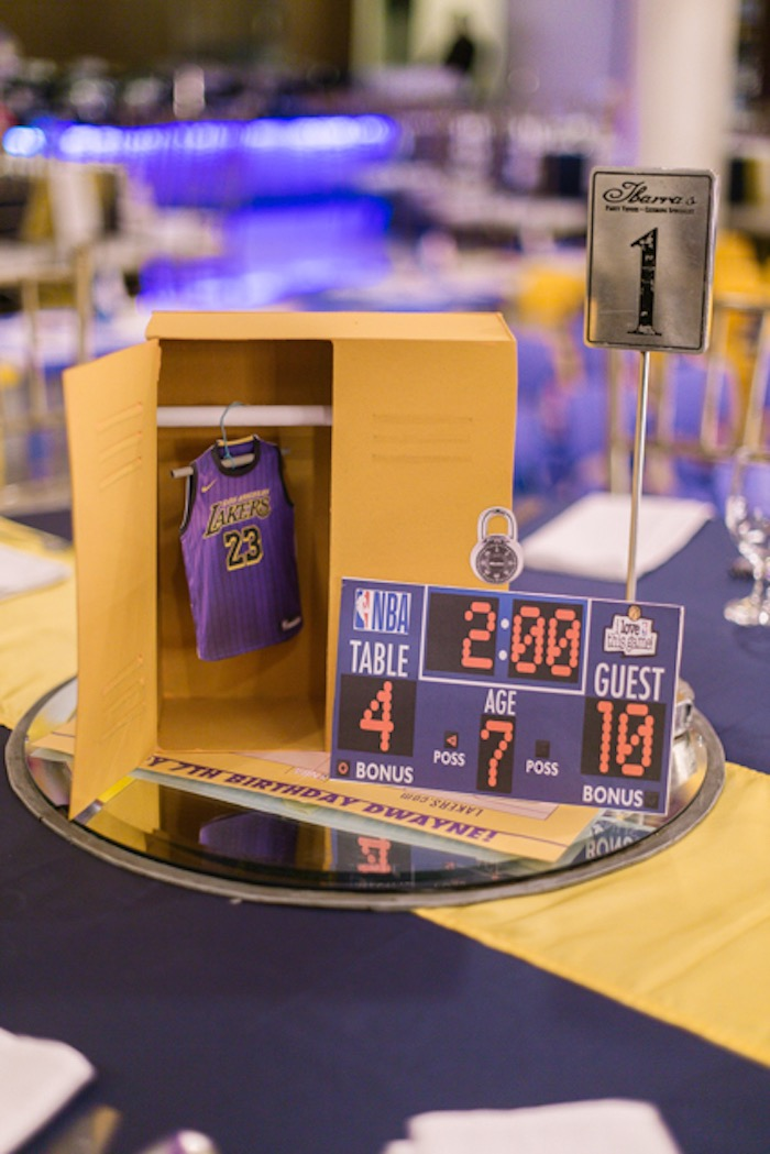 Locker Room + Jersey Centerpiece from an NBA Basketball Birthday Party on Kara's Party Ideas | KarasPartyIdeas.com (25)