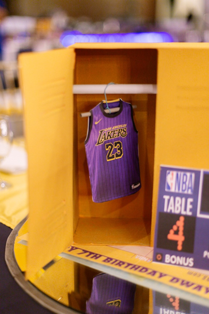 Locker Room + Jersey Centerpiece from an NBA Basketball Birthday Party on Kara's Party Ideas | KarasPartyIdeas.com (24)