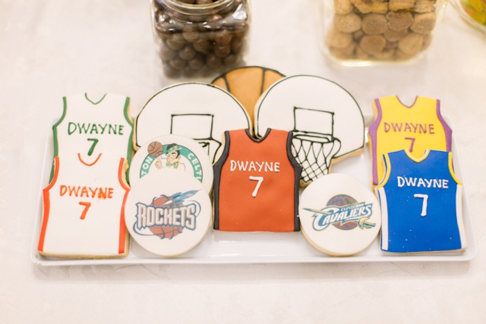 NBA Basketball Themed Sugar Cookies from an NBA Basketball Birthday Party on Kara's Party Ideas | KarasPartyIdeas.com (22)