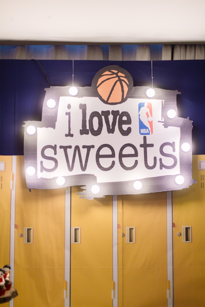 I Love Sweets Marquee Light - Locker Room Backdrop from an NBA Basketball Birthday Party on Kara's Party Ideas | KarasPartyIdeas.com (21)