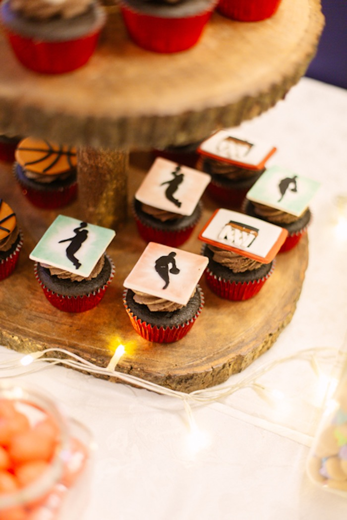 Basketball Cupcakes + Toppers from an NBA Basketball Birthday Party on Kara's Party Ideas | KarasPartyIdeas.com (19)