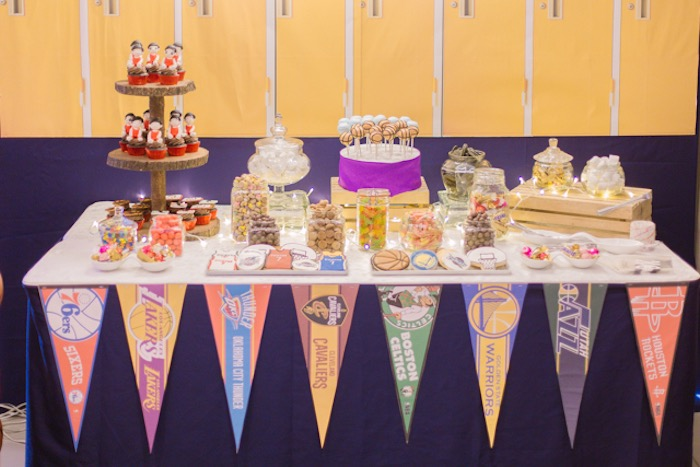 NBA Basketball Themed Dessert Table from an NBA Basketball Birthday Party on Kara's Party Ideas | KarasPartyIdeas.com (18)