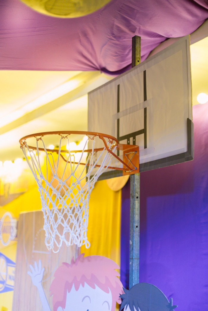 Basketball Hoop Backdrop from an NBA Basketball Birthday Party on Kara's Party Ideas | KarasPartyIdeas.com (14)