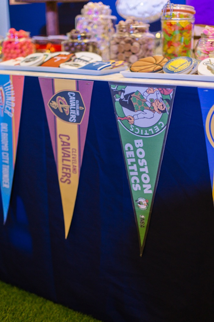 NBA Team Pennant Flag Banner from an NBA Basketball Birthday Party on Kara's Party Ideas | KarasPartyIdeas.com (13)