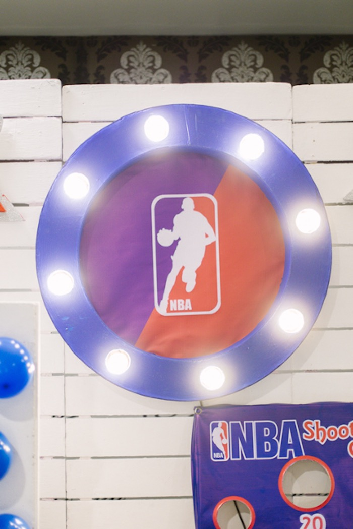 NBA Marquee Light Sign from an NBA Basketball Birthday Party on Kara's Party Ideas | KarasPartyIdeas.com (12)