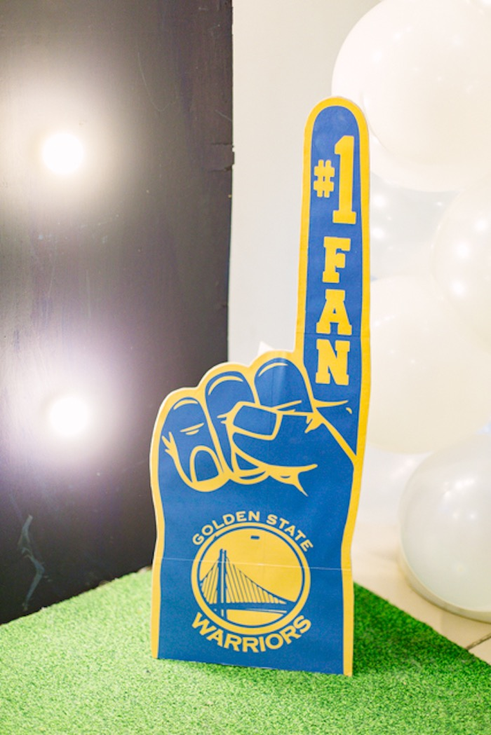 Warriors #1 Fan Foam Finger Standee from an NBA Basketball Birthday Party on Kara's Party Ideas | KarasPartyIdeas.com (10)