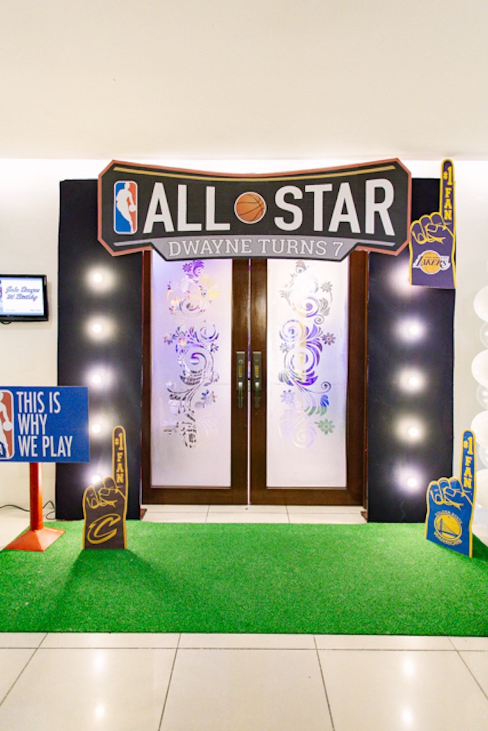All Star Party Entrance from an NBA Basketball Birthday Party on Kara's Party Ideas | KarasPartyIdeas.com (9)