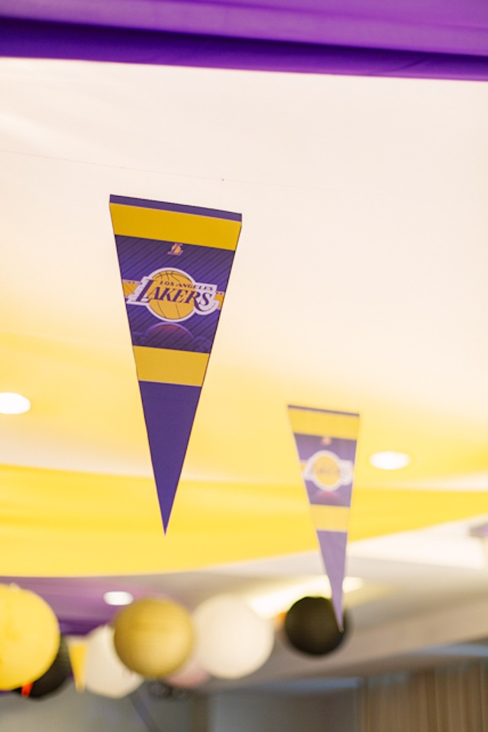 Lakers Flag Decoration from an NBA Basketball Birthday Party on Kara's Party Ideas | KarasPartyIdeas.com (8)