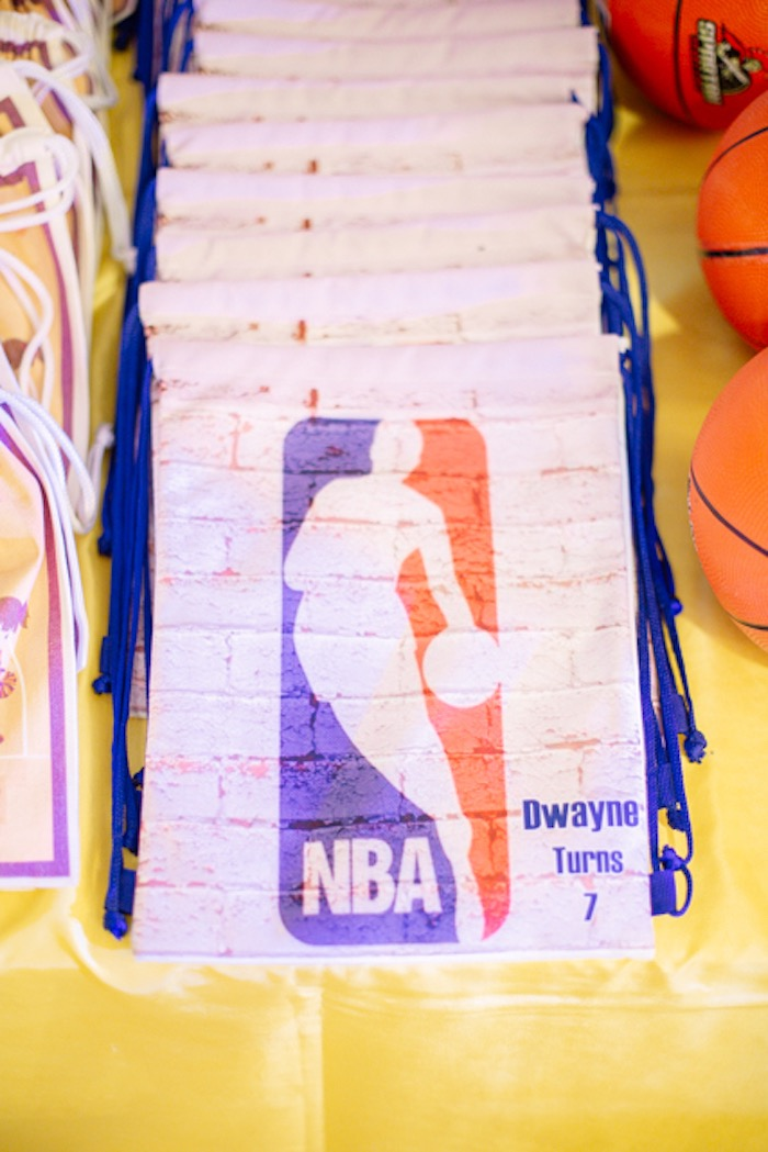 Drawstring NBA Favor Bags from an NBA Basketball Birthday Party on Kara's Party Ideas | KarasPartyIdeas.com (7)
