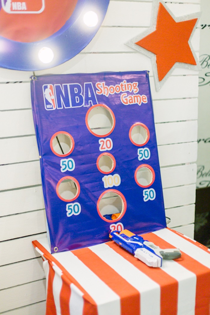 NBA Shooting Game from an NBA Basketball Birthday Party on Kara's Party Ideas | KarasPartyIdeas.com (6)