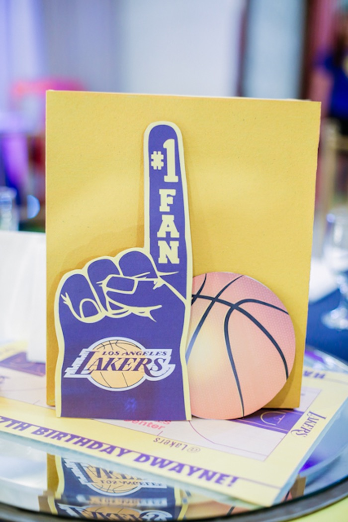 Foam Finger Basketball Table Centerpiece from an NBA Basketball Birthday Party on Kara's Party Ideas | KarasPartyIdeas.com (5)