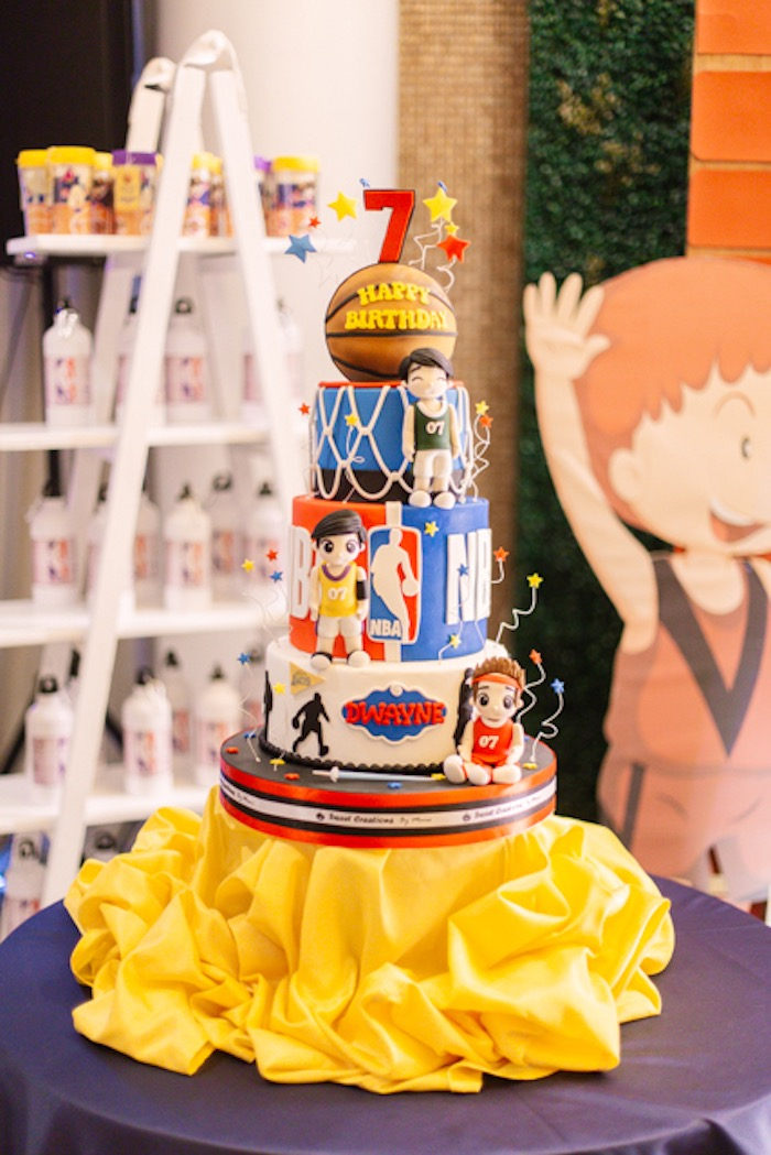 NBA Basketball Themed Birthday Cake from an NBA Basketball Birthday Party on Kara's Party Ideas | KarasPartyIdeas.com (32)