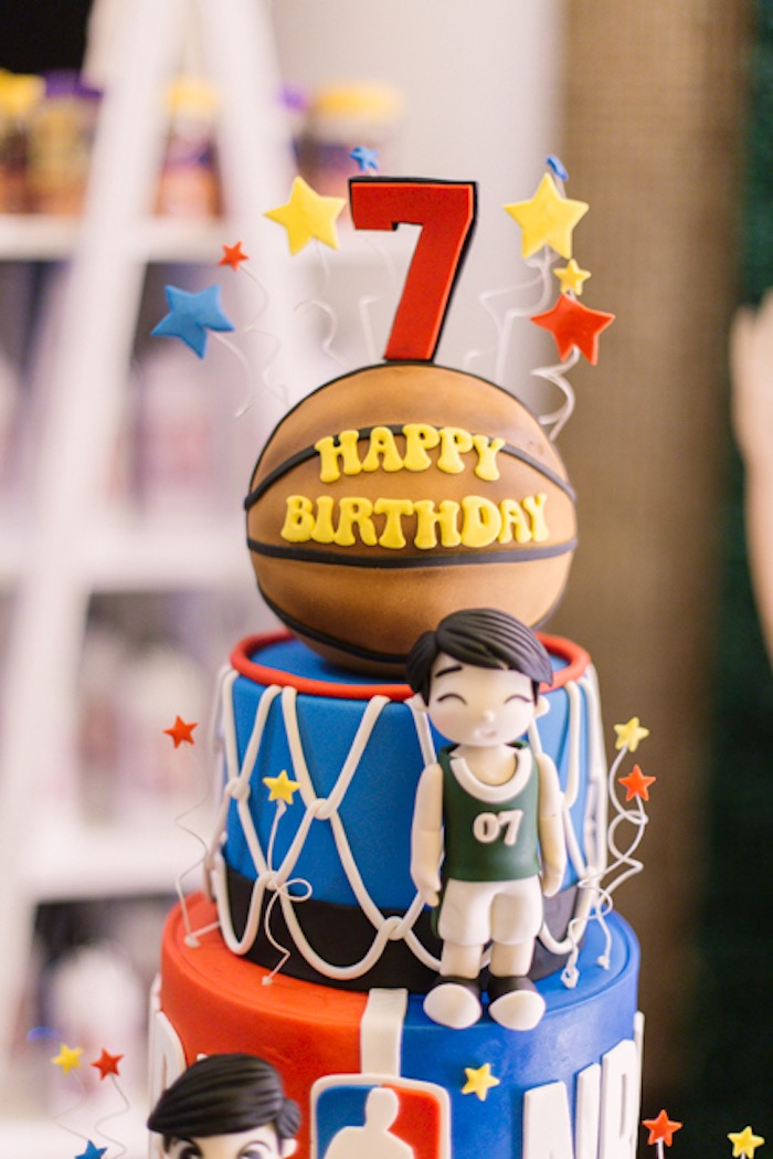 NBA Basketball Themed Birthday Cake from an NBA Basketball Birthday Party on Kara's Party Ideas | KarasPartyIdeas.com (31)