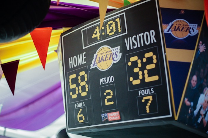 Lakers Scoreboard Decoration from an NBA Basketball Birthday Party on Kara's Party Ideas | KarasPartyIdeas.com (29)