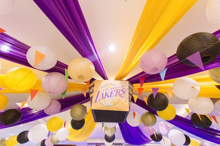 Paper Lantern LA Lakers-inspired Ceiling from an NBA Basketball Birthday Party on Kara's Party Ideas | KarasPartyIdeas.com (28)