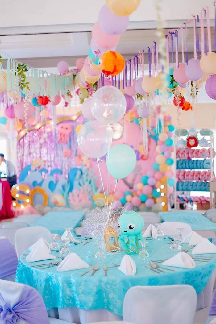 Under the Sea Party Table from a Pastel Mermaid Birthday Party on Kara's Party Ideas | KarasPartyIdeas.com (10)