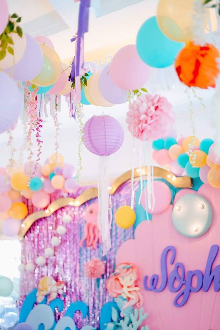 Under the Sea-inspired Party Ceilingscape from a Pastel Mermaid Birthday Party on Kara's Party Ideas | KarasPartyIdeas.com (9)