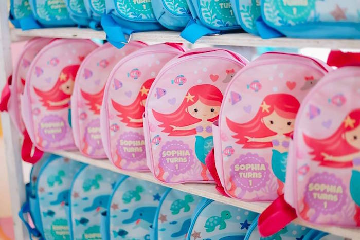 Mermaid + Dolphin Back Pack Favors from a Pastel Mermaid Birthday Party on Kara's Party Ideas | KarasPartyIdeas.com (8)
