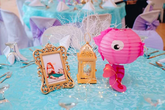 Under the Sea Table Centerpieces from a Pastel Mermaid Birthday Party on Kara's Party Ideas | KarasPartyIdeas.com (6)